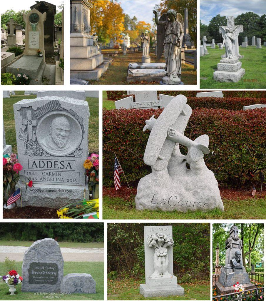 Makam untuk umat kristiani biasanya diukir dengan patung yesus, bunda maria atau burung merpati.