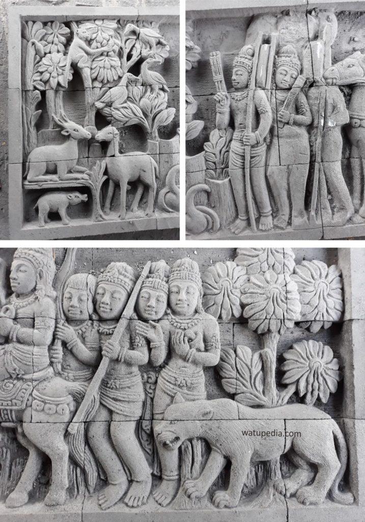 Relief batu candi untuk dinding digunakan sebagai pengisi ruang kosong di dinding supaya terlihat cantik