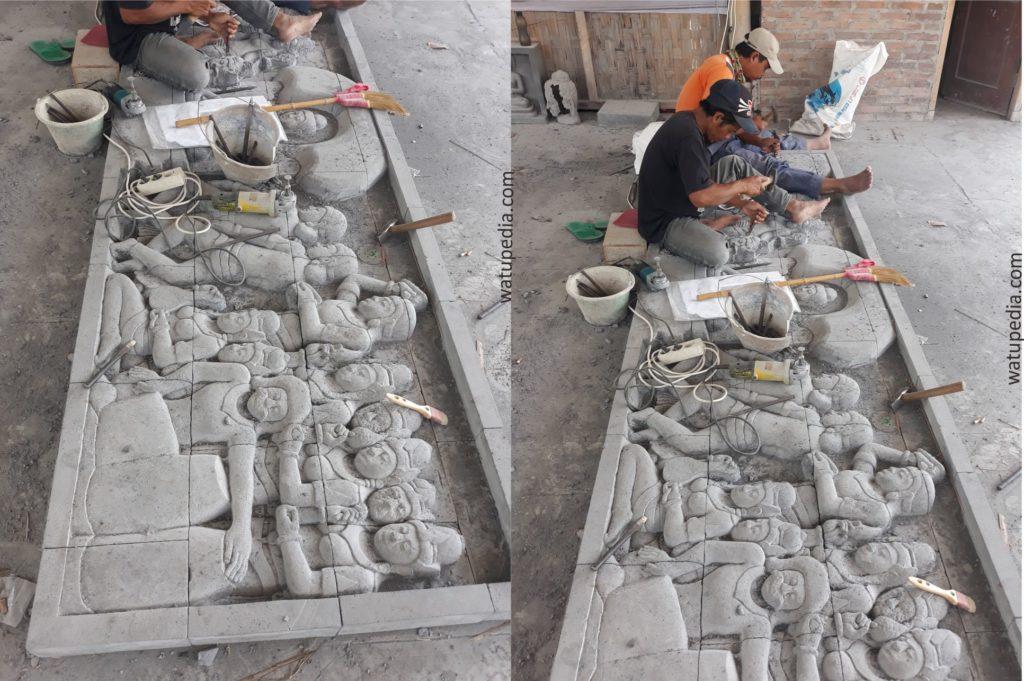 Proses mengukir batu alam